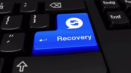addiction recovery : Recovery Round Motion On Blue Enter Button On Modern Computer Keyboard with Text and icon Labeled. Selected Focus Key is Pressing Animation. Database Security Concept
