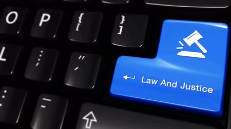 judiciary : Law And Justice Moving Motion On Blue Enter Button On Modern Computer Keyboard with Text and icon Labeled. Selected Focus Key is Pressing Animation. Stock Footage