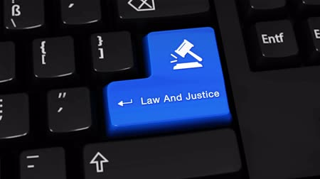 judiciary : Law And Justice Rotation Motion On Blue Enter Button On Modern Computer Keyboard with Text and icon Labeled. Selected Focus Key is Pressing Animation. Stock Footage