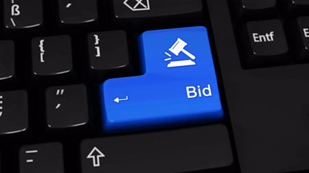 martelo : Bid Rotation Motion On Blue Enter Button On Modern Computer Keyboard with Text and icon Labeled. Selected Focus Key is Pressing Animation. Accounting Services Concept