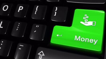 kalkulačka : Money Moving Motion On Green Enter Button On Modern Computer Keyboard with Text and icon Labeled. Selected Focus Key is Pressing Animation. Business Management Concept Dostupné videozáznamy