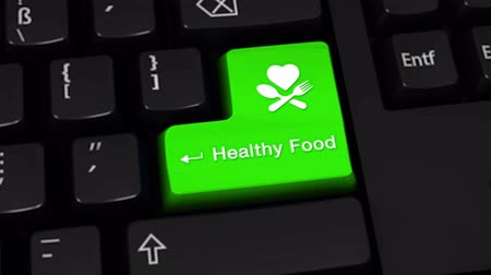 espinafre : Healthy Food Rotation Motion On Green Enter Button On Modern Computer Keyboard with Text and icon Labeled. Selected Focus Key is Pressing Animation. Medical Health Concept