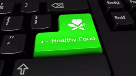omega : 33. Healthy Food Round Motion On Green Enter Button On Modern Computer Keyboard with Text and icon Labeled. Selected Focus Key is Pressing Animation. Medical Health Concept