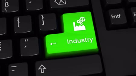 automatyka : 35. Industry Rotation Motion On Green Enter Button On Modern Computer Keyboard with Text and icon Labeled. Selected Focus Key is Pressing Animation. Production Industry Concept