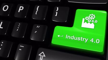 čtyřicet : Industry 4.0 Moving Motion On Green Enter Button On Modern Computer Keyboard with Text and icon Labeled. Selected Focus Key is Pressing Animation. Production Industry Concept
