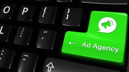 publicity : Ad Agency Moving Motion On Green Enter Button On Modern Computer Keyboard with Text and icon Labeled. Selected Focus Key is Pressing Animation.advantage marketing