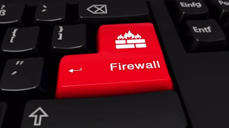 server room : Firewall Round Motion On Red Enter Button On Modern Computer Keyboard with Text and icon Labeled. Selected Focus Key is Pressing Animation. Cyber Hacking Concept Stock Footage