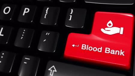 adomány : blood bank Moving Motion On Red Enter Button On Modern Computer Keyboard with Text and icon Labeled. Selected Focus Key is Pressing Animation. Medical Health Concept