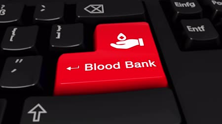 adomány : blood bank Round Motion On Red Enter Button On Modern Computer Keyboard with Text and icon Labeled. Selected Focus Key is Pressing Animation. Medical Health Concept