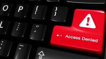 zabránit : Access Denied Moving Motion On Red Enter Button On Modern Computer Keyboard with Text and icon Labeled. Selected Focus Key is Pressing Animation. Computer Hacking Concept