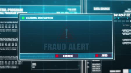 rubber stamp : Fraud Alert Warning Notification Generated on Digital System Security Alert Error Message on Computer Screen after Entering Login And Password . Cyber Crime, Computer Hacking Concept Stock Footage