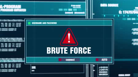 bot : Brute Force Warning Notification Generated on Digital System Security Alert Error Message on Computer Screen after Entering Login And Password . Cyber Crime, Computer Hacking Concept Stock Footage