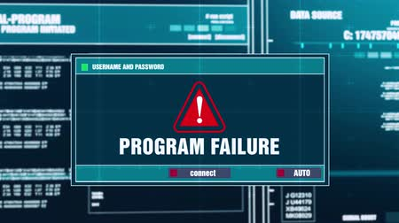 malware : Program Failure Warning Notification Generated on Digital System Security Alert Error Message on Computer Screen after Entering Login And Password . Cyber Crime, Computer Hacking Concept