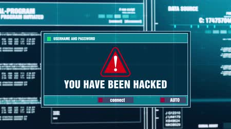 езда с недозволенной скоростью : You Have Been Hacked Warning Notification Generated on Digital System Security Alert Error Message on Computer Screen after Entering Login And Password . Cyber Crime, Computer Hacking Concept Стоковые видеозаписи