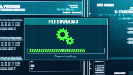 descarregamento : Downloading Files Progress Warning Message Download Failed Alert on Computer Screen Entering System Login And Password . System Security, Cyber Crime, Computer Hacking Concept Vídeos