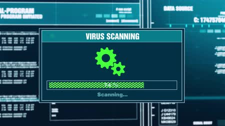 detection : Virus Scanning Progress Warning Message You Are Protected Alert on Computer Screen Entering System Login And Password. System Security, Cyber Crime, Computer Hacking Concept Stock Footage