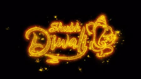 rams : Happy Diwali text with Golden Shining Glitter Star Dust Wave of Trail Sparks Blinking Particles Fireworks. Shubh Deepavali Light and Fire Festival lights Greeting Card .4 Stock Footage