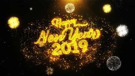 kaligrafia : New Year 2019 text Sparks Particles Reveal from Golden Firework Display explosion 4K. Greeting card, Celebration, Party Invitation, calendar, Gift, Events, Message, Holiday, Wishes Festival .