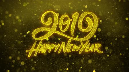 firework display : Happy New Year 2019 Wishes Greetings card Abstract Blinking Golden Sparkles Glitter Firework Particle Looped Background. Gift, card, Invitation, Celebration, Events, Message, Holiday, Festival.