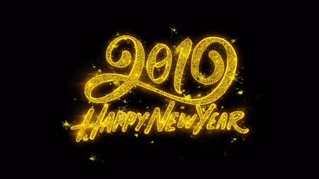 ano novo chinês : Happy New Year 2019 Typography Written with Golden Particles Sparks Fireworks Display 4K. Greeting card, Celebration, Party Invitation, calendar, Gift, Events, Message, Holiday, Wishes Festival . Vídeos