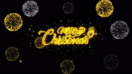confettie : Merry Christmas Gold Design Shining Pattern. greeting blinking particles fireworks Display 4K for Greeting card, Celebration, Invitation, calendar, Gift, Events, Message, Holiday, Wishes .