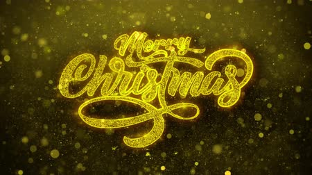 kaligrafia : Sparkling Lights xmas Merry Christmas and Happy New Year greeting message text particles Blinking Golden Looped Background. Gift, card, Invitation, Celebration, Events, Message, Holiday, Festival.