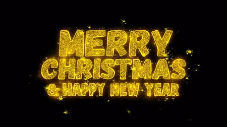 fogadtatás : Merry Christmas and new year Animation of Sparklers Gold Glitter Glowing Text Appearing on Black 4K. Greeting card, Celebration, Party Invitation, calendar, Gift, Events, Message, Holiday, Wishes.