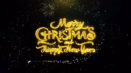 kívánságait : Merry Christmas and new year written gold glitter particles spark Exploding Fireworks Display 4K . Greeting card, Celebration, Party Invitation, Gift, Events, Message, Holiday, Wishes Festival .2 Stock mozgókép