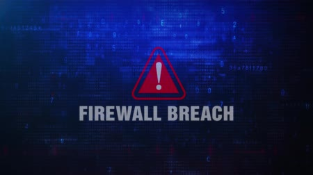 minaccia : Firewall Breach Alert Avviso Messaggio di errore lampeggiante sullo schermo. Immissione di login e password sullo schermo del computer 4K. Glitch digitale astratto e rumore distorto, concetto di hacking del computer