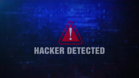 investigador : Hacker Detected Alert Warning Error Message Blinking on Screen . Entering Login And Password on Computer Screen 4K . Abstract Digital Glitch and Distorted Noise, Computer Hacking Concept Stock Footage