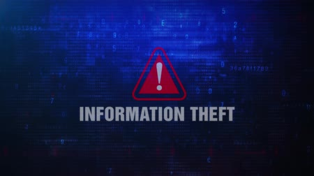 signs of the criminal : Information Theft Alert Warning Error Message Blinking on Screen . Entering Login And Password on Computer Screen 4K . Abstract Digital Glitch and Distorted Noise, Computer Hacking Concept Stock Footage