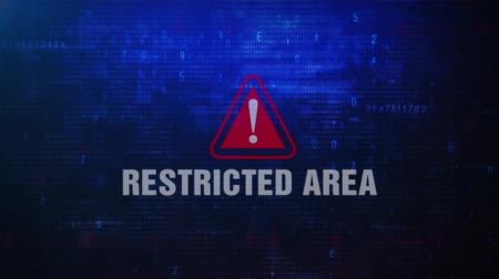 signboard : Restricted Area Alert Warning Error Message Blinking on Screen . Entering Login And Password on Computer Screen 4K . Abstract Digital Glitch and Distorted Noise, Computer Hacking Concept Stock Footage