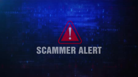 scammer : SCAMMER Alert Warning Error Message Blinking on Screen . Entering Login And Password on Computer Screen 4K . Abstract Digital Glitch and Distorted Noise, Computer Hacking Concept Stock Footage