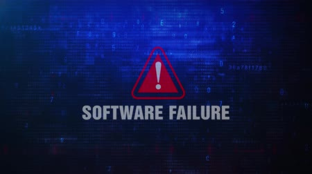 caution sign : Software Failure Alert Warning Error Message Blinking on Screen . Entering Login And Password on Computer Screen 4K . Abstract Digital Glitch and Distorted Noise, Computer Hacking Concept Stock Footage