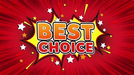 メダル : Best Choice Word Retro Cartoon Comic Bubbles Popup Style illustrations Colored Bomb Strip Dotted and red Speed Radial line Seamless loop. black green screen 4k doodle background