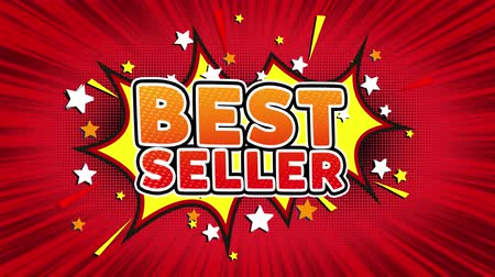 medal : Best Seller Word Retro Cartoon Comic Bubbles Popup Style illustration. Colored Bomb Strip Dotted and red Speed Radial line Seamless loop. black green screen 4k doodle background