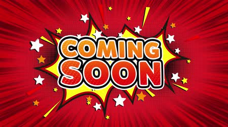 soon : Coming Soon Word Retro Cartoon Comic Bubbles Popup Style illustration. Colored Bomb Strip Dotted and red Speed Radial line Seamless loop. black green screen 4k doodle background