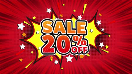 текст : Sale 20% Off Word Retro Cartoon Comic Bubbles Popup Style illustration. Colored Bomb Strip Dotted and red Speed Radial line Seamless loop. black green screen 4k doodle background Стоковые видеозаписи