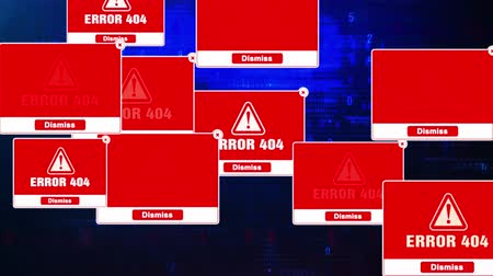 níveis : Error 404 Alert Warning Message Windows Errors Pop-up Notification Dialog Box Blinking Virus. After Login And Password on Digital Glitch Computer Monitor screen 4k. Stock Footage