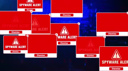 malware : Spyware Alert Warning Message Windows Errors Pop-up Notification Dialog Box Blinking Virus. After Login And Password on Digital Glitch Computer Monitor screen 4k.