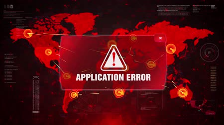 hacker computer : Application Error Alert Warning Message Attack on World map. Wire frame Radar Network Seamless loop Motion Background. UI Elements HUD Sci Fi interface. Stock Footage