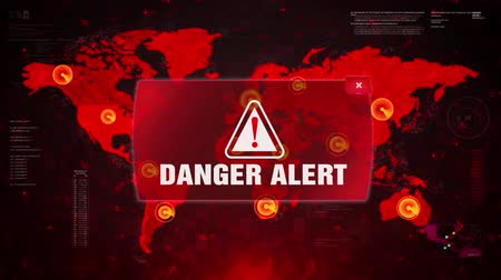 espião : Danger Alert Warning Message Attack on World map. Wire frame Radar Network Seamless loop Motion Background. UI Elements HUD Sci Fi interface.