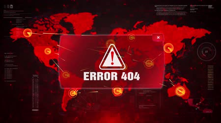 hibák : Error 404 Alert Warning Message Attack on World map. Wire frame Radar Network Seamless loop Motion Background. UI Elements HUD Sci Fi interface.