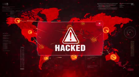 advertir : Hacked Alert Warning Message Attack on World map. Wire frame Radar Network Seamless loop Motion Background. UI Elements HUD Sci Fi interface.
