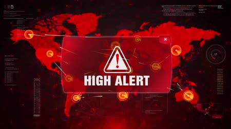 caution sign : High Alert Warning Message Attack on World map. Wire frame Radar Network Seamless loop Motion Background. UI Elements HUD Sci Fi interface. Stock Footage