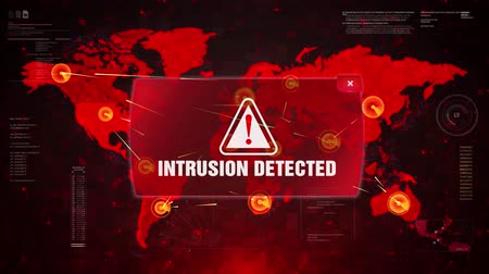 continente : Intrusion Detected Alert Warning Message Attack on World map. Wire frame Radar Network Seamless loop Motion Background. UI Elements HUD Sci Fi interface.