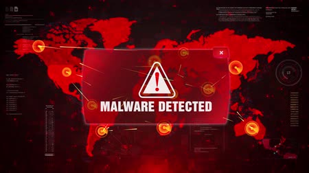 trojan : Malware Detected Alert Warning Message Attack on World map. Wire frame Radar Network Seamless loop Motion Background. UI Elements HUD Sci Fi interface.