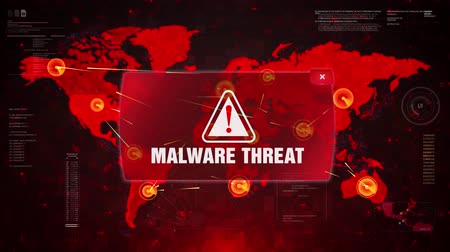 advertir : MALWARE THREAT Alert Warning Message Attack on World map. Wire frame Radar Network Seamless loop Motion Background. UI Elements HUD Sci Fi interface.
