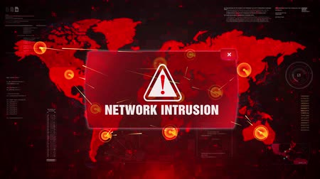 chyba : NETWORK INTRUSION Alert Warning Message Attack on World map. Wire frame Radar Network Seamless loop Motion Background. UI Elements HUD Sci Fi interface.