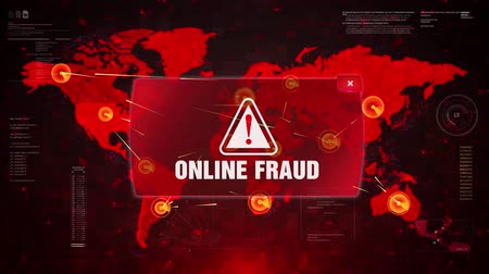 phishing : Online Fraud Alert Warning Message Attack on World map. Wire frame Radar Network Seamless loop Motion Background. UI Elements HUD Sci Fi interface.